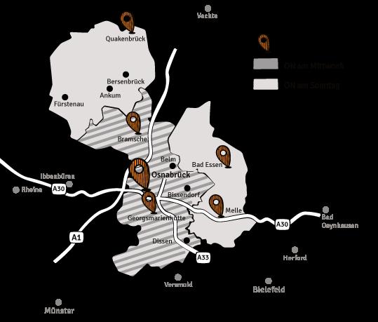 Osnabrücker Nachrichten-Erscheinungsgebiet